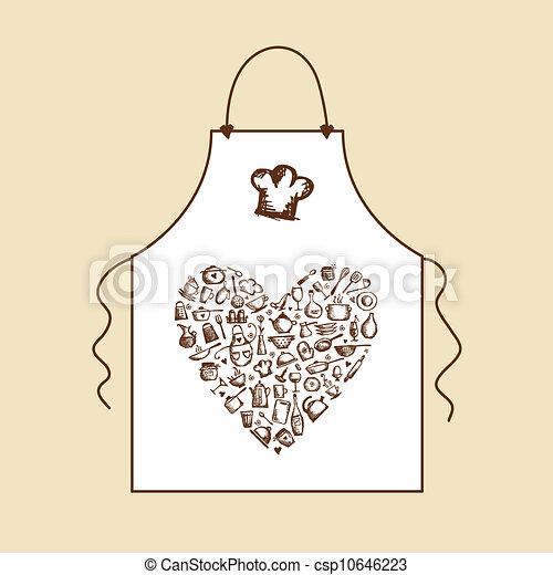 grembiule, schizzo, amore, cooking!, utensili, disegno, tuo, cucina - csp10646223
