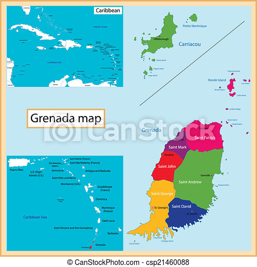 Grenada map Map of grenada drawn with high detail and vector