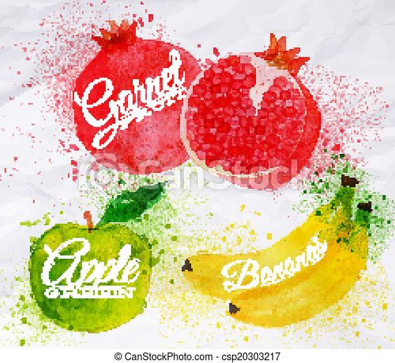 Grenade pomme aquarelle fruit vert banane past que blots pomme taches fruit aquarelle - Grenade fruit dessin ...