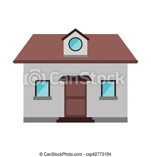 grenier, fenêtre, devant, maison, dessin animé, vue - csp42773184