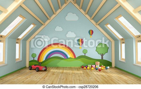 grenier salle jeux salle jeux grenier d coration rendre jouets mur 3d. Black Bedroom Furniture Sets. Home Design Ideas
