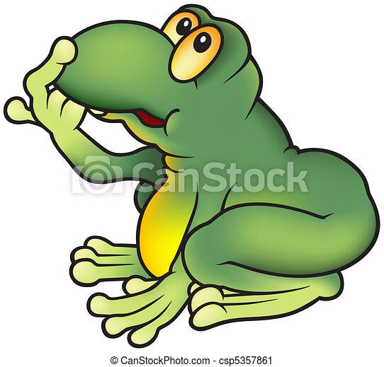 Grenouille Verte Colore Illustration Grenouille Vecteur Vert
