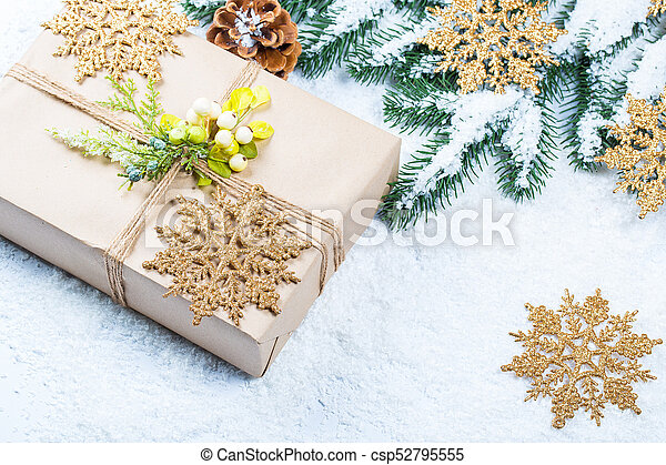 grenverk, utrymme, träd, gratis, gåva, snow., bakgrund, jul - csp52795555