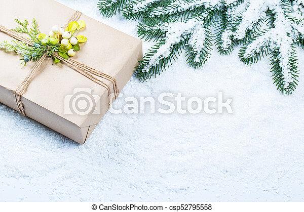 grenverk, utrymme, träd, gratis, gåva, snow., bakgrund, jul - csp52795558