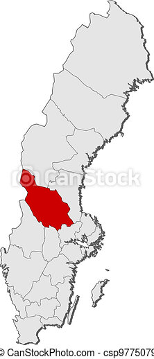 Grevskap Karta Markerad Dalarna Sverige Karta Landsorten