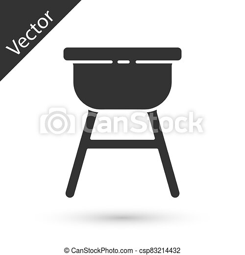 Grey Barbecue grill icon isolated on white background. BBQ grill party. Vector Illustration - csp83214432