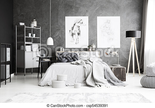 Grey Bedroom Interior With Drawing