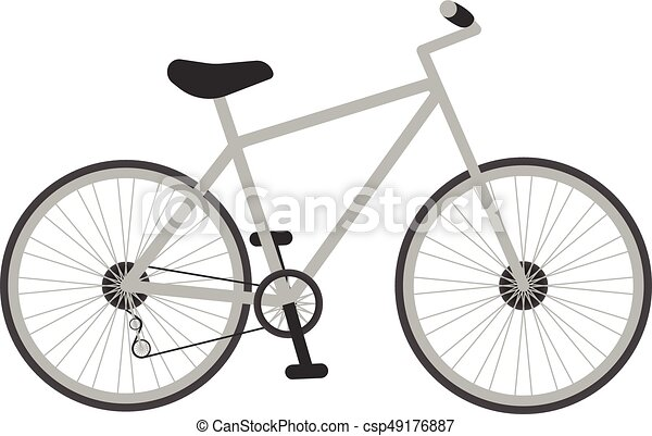 Grey Bicycle For Kids Isolated On A White Background. Vector Illustration. - csp49176887