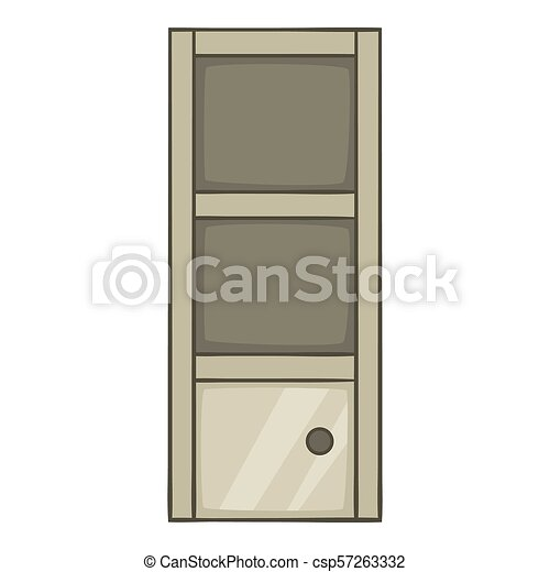 Grey Bookcase Icon Cartoon Style