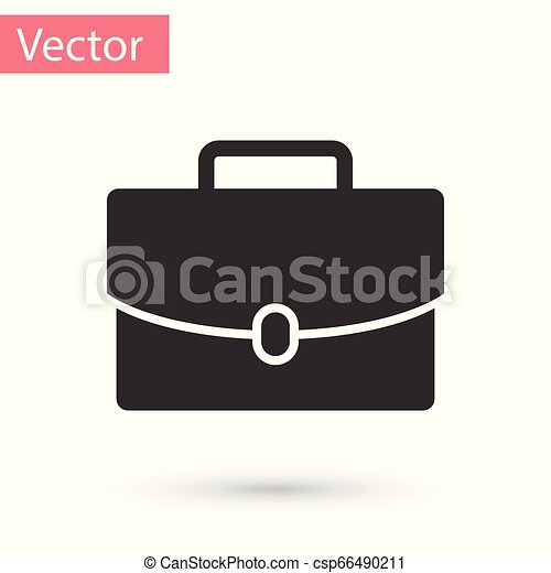 Grey Briefcase icon isolated on white background. Business case sign. Business portfolio. Vector Illustration - csp66490211