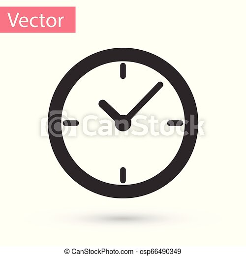 Grey Clock icon isolated on white background. Vector Illustration - csp66490349