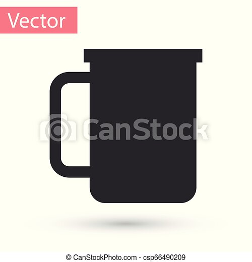Grey Coffee cup flat icon isolated on white background. Tea cup. Hot drink coffee. Vector Illustration - csp66490209