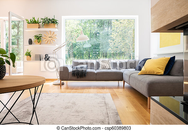 Brilliant Grey Corner Couch With Cushions In Real Photo Of White Living Room Interior With Window Fresh Plants Carpet And Big Lamp Machost Co Dining Chair Design Ideas Machostcouk