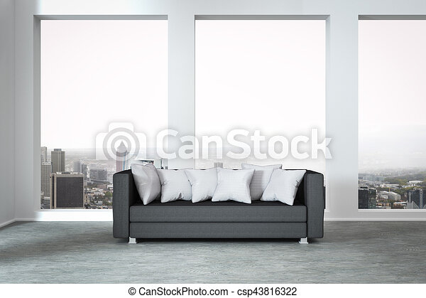 Grey couch in modern apartment huge window with panoramic view 3d ...