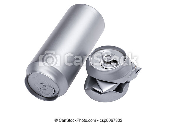 Grey Crumpled beverage can on white - csp8067382