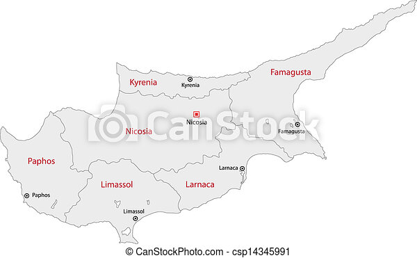 Grey cyprus map Map of administrative divisions of cyprus eps
