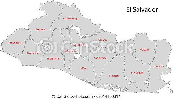 Grey el salvador map Administrative divisions of el vector clip