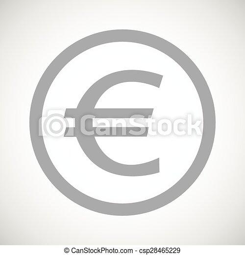 Grey Euro Sign Icon Grey Euro Symbol In Circle On White Gradient
