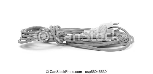 Grey extension cord isolated on white - csp65045530