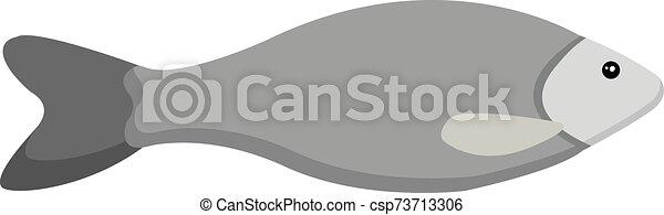 Grey fish, illustration, vector on white background. - csp73713306