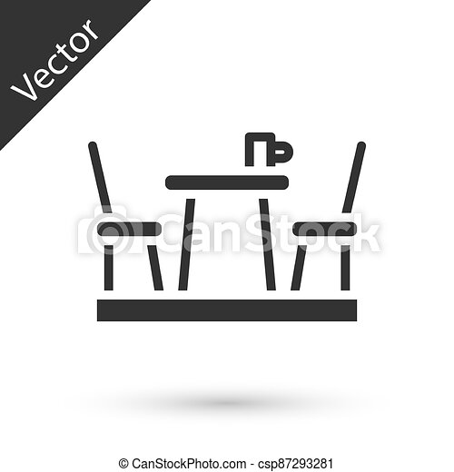 Grey French cafe icon isolated on white background. Street cafe. Table and chairs. Vector - csp87293281
