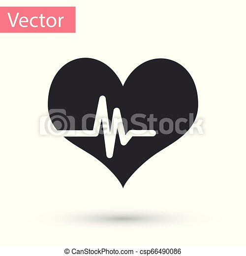 Grey Heart rate icon isolated on white background. Heartbeat sign. Heart pulse icon. Cardiogram icon. Vector Illustration - csp66490086