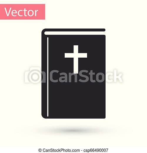 Grey Holy bible book icon isolated on white background. Vector Illustration - csp66490007
