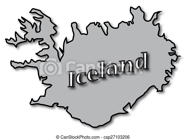 Grey iceland on map. An iceland map with text and a shadow isolated ...