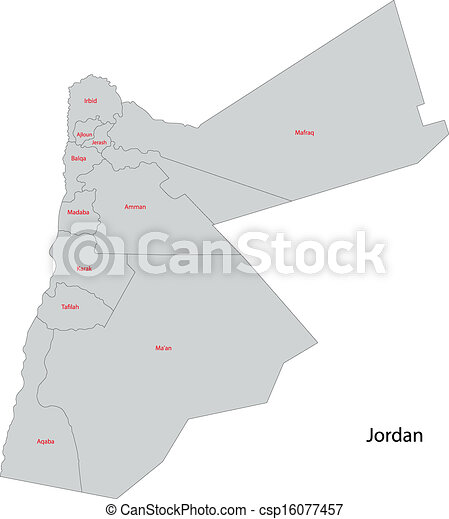 Grey jordan map Map of administrative divisions of jordan