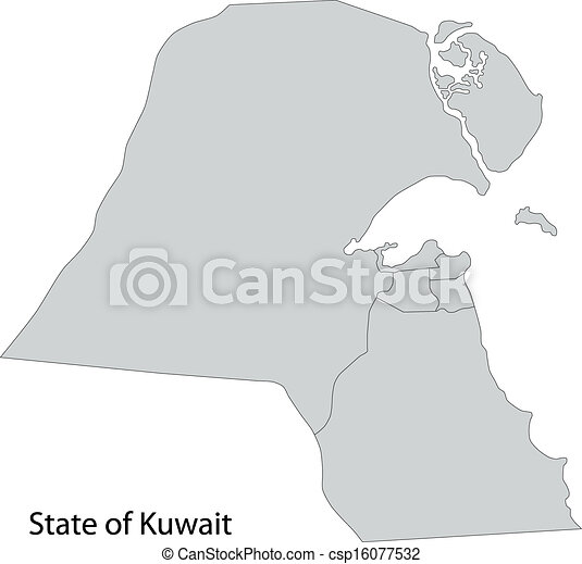 Grey kuwait map Map of administrative divisions of kuwait vectors