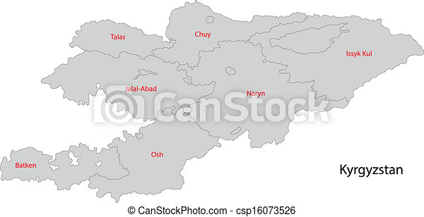 Grey kyrgyzstan map Map of administrative divisions of vector