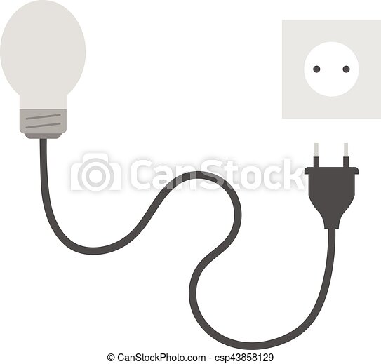 Grey light bulb with plug and outlet. Vector grey light bulb with ...