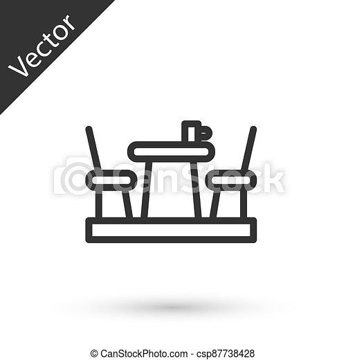 Grey line French cafe icon isolated on white background. Street cafe. Table and chairs. Vector - csp87738428