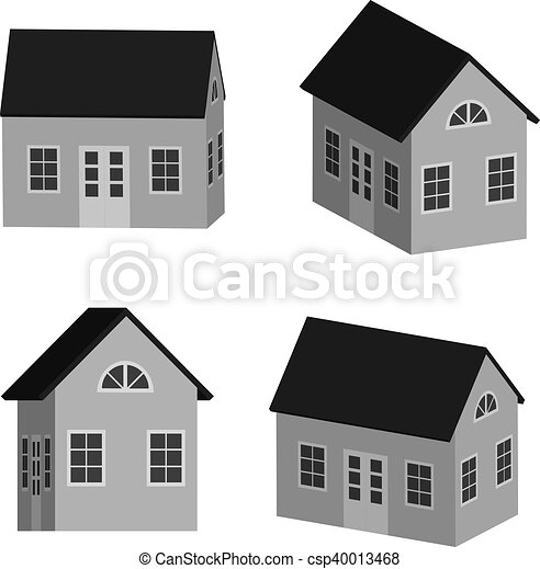 Grey little house in 3D - csp40013468