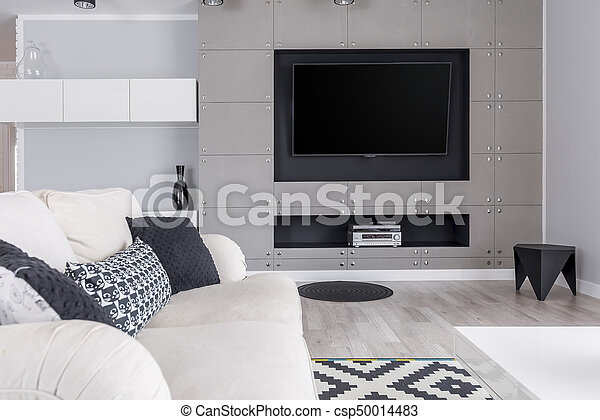 Grey Living Room With Tv Modern Trendy Gray Living Room With Tv On Wall And Elegant Sofa Canstock