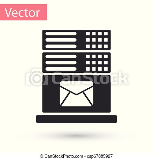 Grey Mail server icon isolated on white background. Vector Illustration - csp67885927