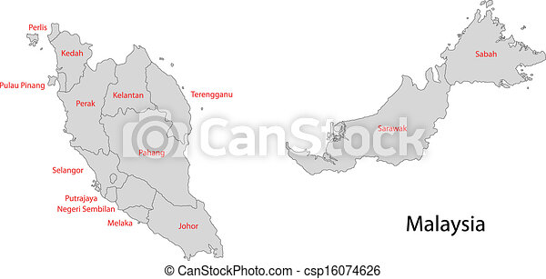 Vector Illustration of Grey Malaysia map Map of administrative