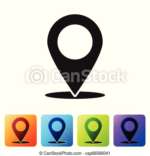 Grey Map pin icon isolated on white background. Pointer symbol. Location sign. Navigation map, gps, direction, place, compass, search concept. Set icon in color square buttons. Vector Illustration - csp66566041