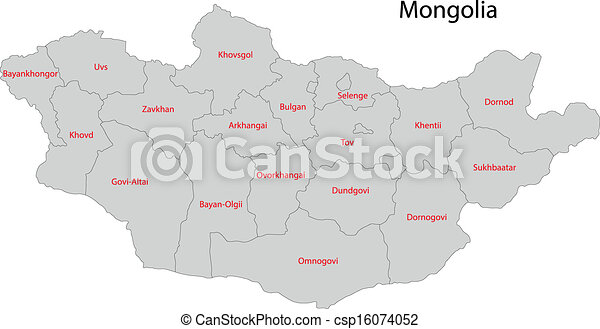 Grey Mongolia Map Map Of Administrative Divisions Of Clipart - Mongolia map vector