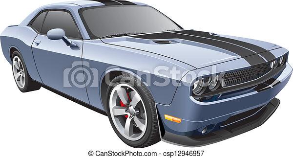 grey muscle car - csp12946957