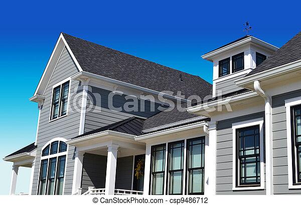 Grey New England Style Dream Home - csp9486712