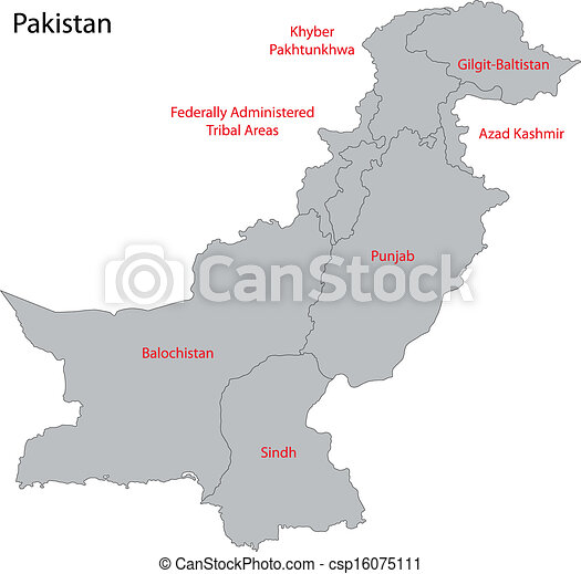 Grey pakistan map Map of administrative divisions of vector clip