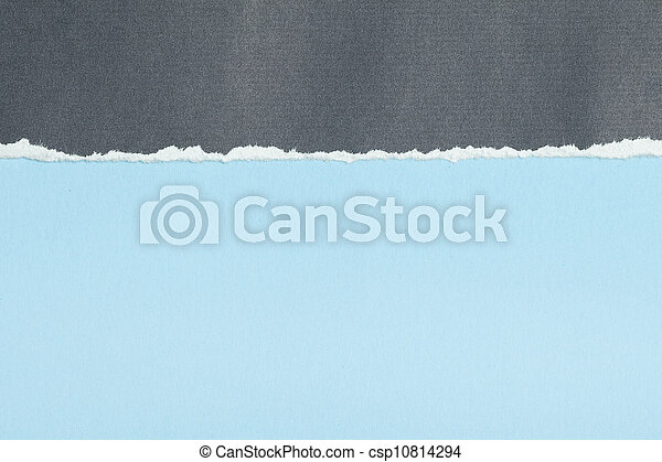Grey paper with torn edge on blue - csp10814294