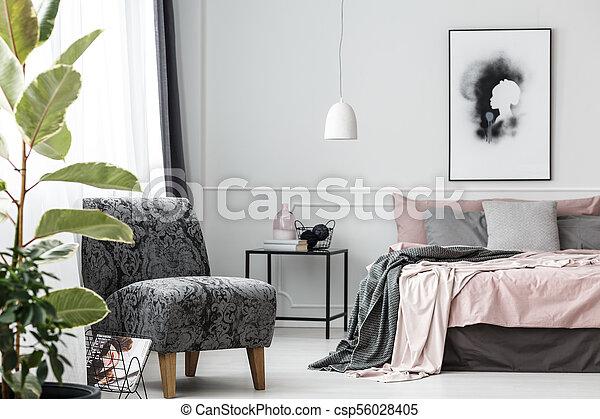 Grey Patterned Armchair In Bedroom Grey Patterned Armchair Next To Interesting Patterned Armchair