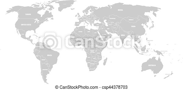 Grey political world map with country borders and white state name grey political world map with country borders and white state name labels hand drawn simplified vector illustration gumiabroncs Image collections