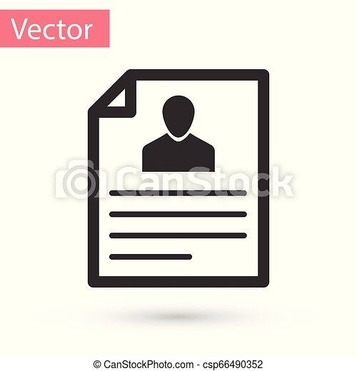 Grey Resume icon isolated on white background. CV application. Searching professional staff. Analyzing personnel resume. Vector Illustration - csp66490352