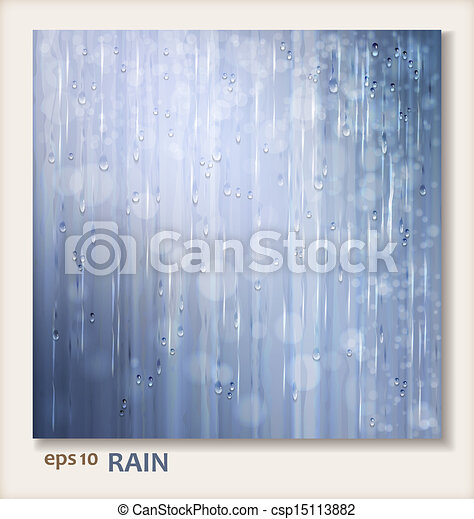 Grey shiny rain. Abstract water background design - csp15113882