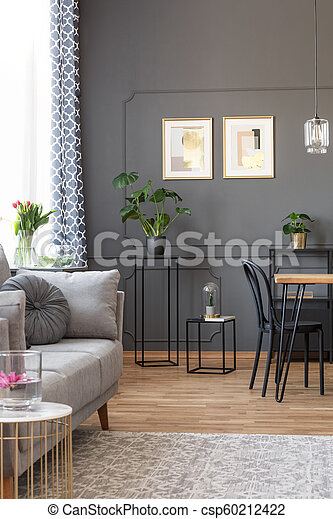 Grey sofa on carpet in living room interior with posters on the wall above  plants. Real photo
