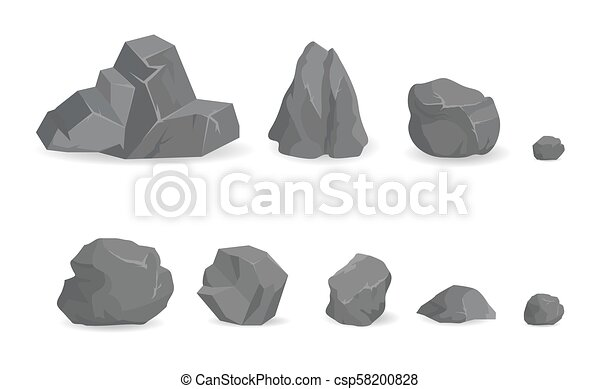 Grey Stone Rocks Collection of Big and Small Gems - csp58200828