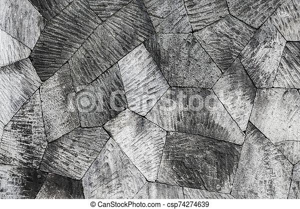 Grey stone wall background, geometric pattern - csp74274639